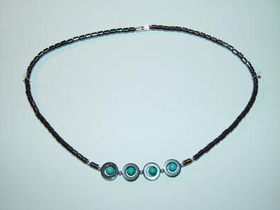 "Necklace, hematite, 18"", 001"