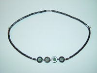 "Necklace, hematite, 18"", 003"