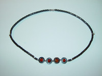 "Necklace, hematite, 18"", 004"