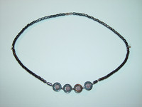 "Necklace, hematite, 18"", 006"