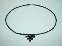 "Necklace, hematite, 18"", 008"