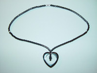 "Necklace, hematite, 18"", 016"