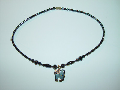 "Necklace, hematite, 18"", 018"