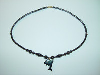 "Necklace, hematite, 18"", 023"