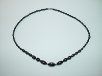 "Necklace, hematite, 18"", 025"