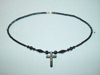 "Necklace, hematite, 18"", 038"