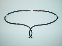 "Necklace, hematite, 18"", 039"